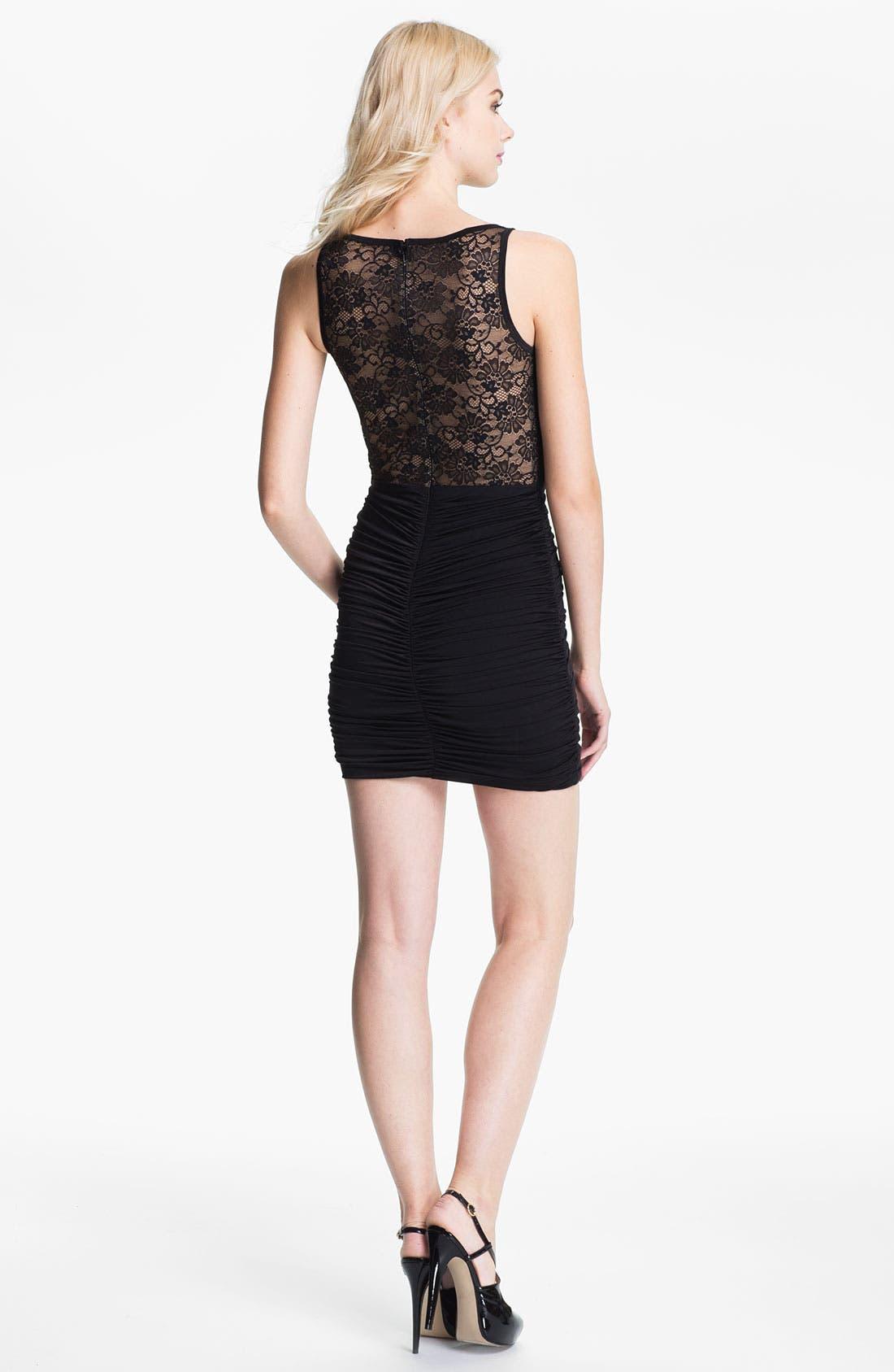 Alternate Image 2  - Jessica McClintock Illusion Yoke Ruched Jersey Minidress