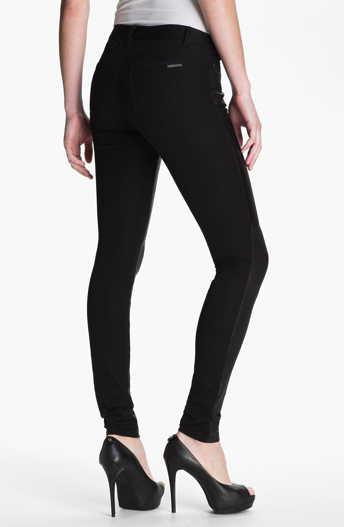 Alternate Image 2  - MICHAEL Michael Kors Leather & Twill Pants