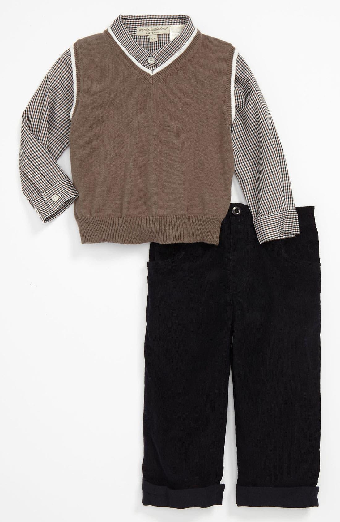 Main Image - Wendy Bellissimo Shirt, Vest & Corduroy Pants (Infant)
