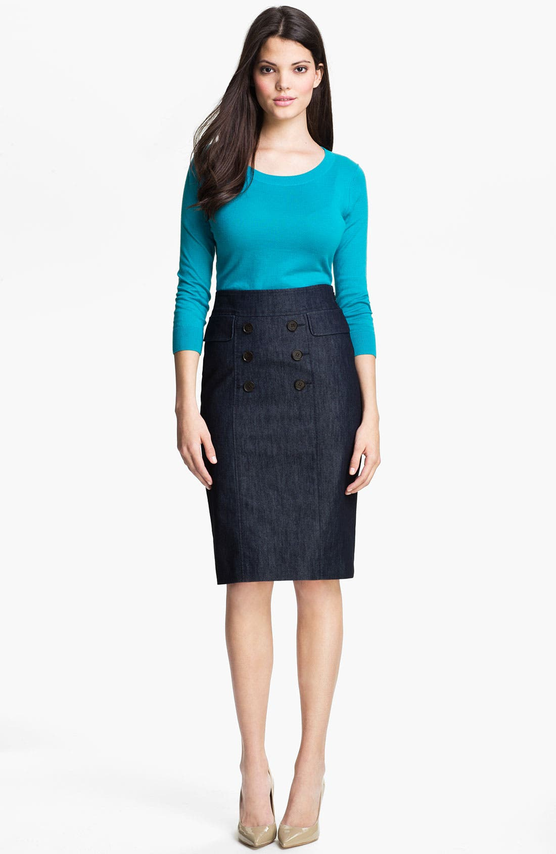 Alternate Image 4  - Halogen® Double Button Front Denim Skirt