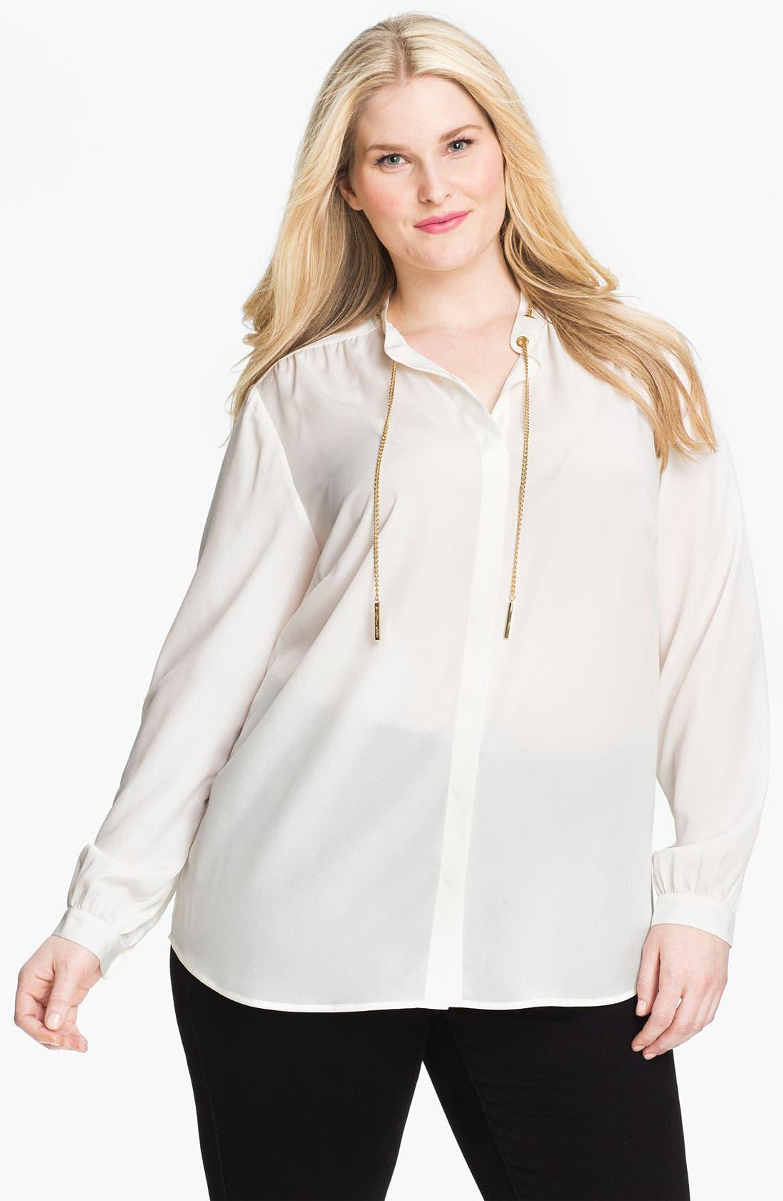 Alternate Image 1 Selected - MICHAEL Michael Kors Chain Detail Shirt (Plus)