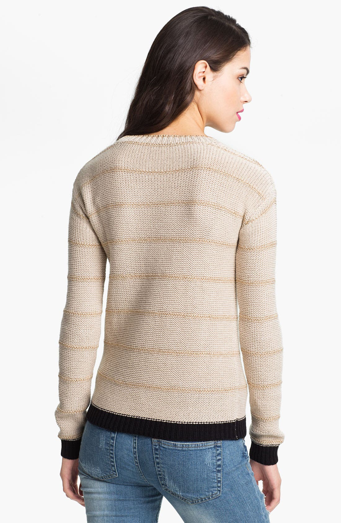 Alternate Image 2  - Love by Design Metallic Stripe Cable Sweater (Juniors)