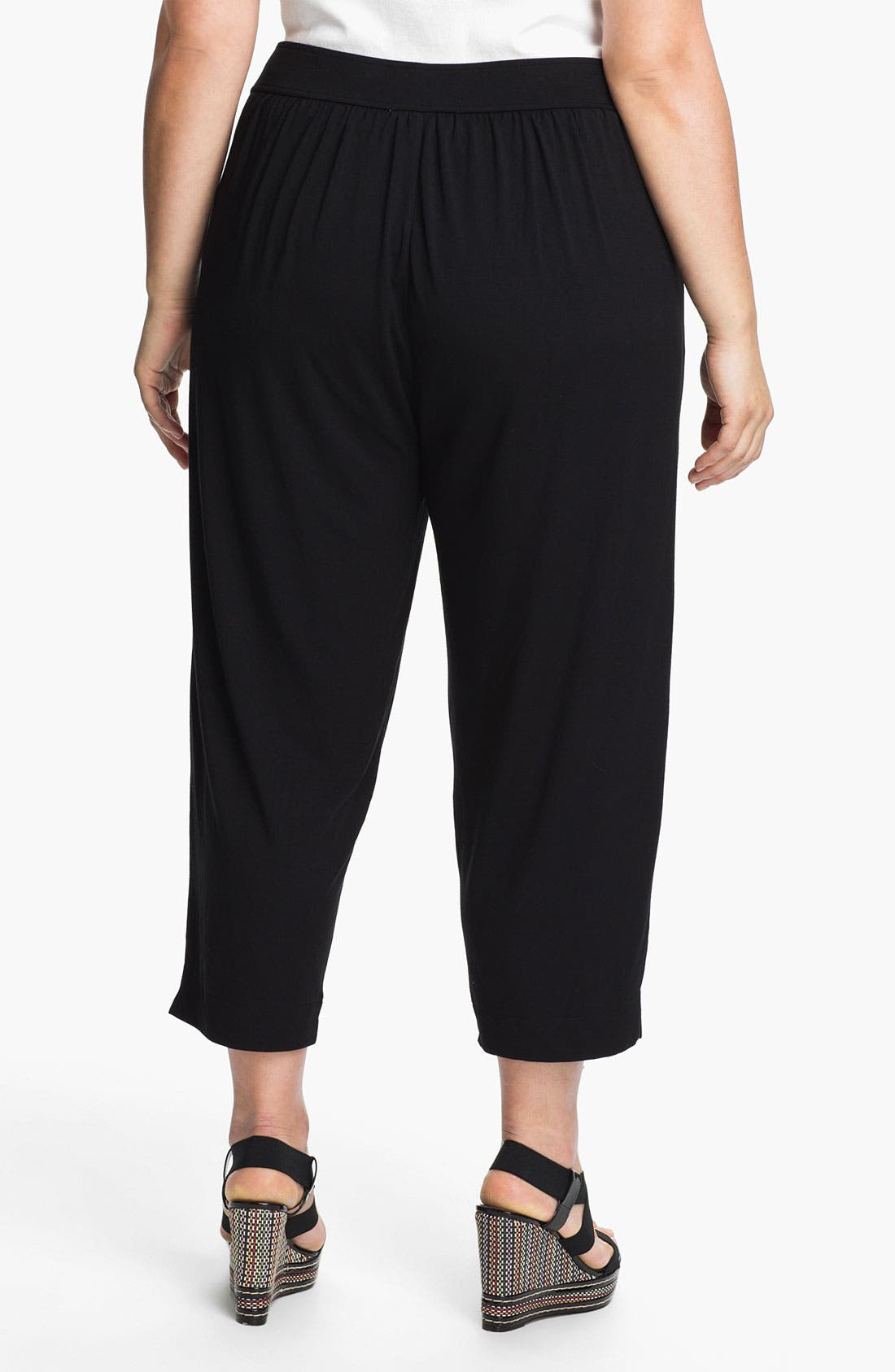 Alternate Image 2  - Sejour Jersey Knit Crop Pants (Plus Size)