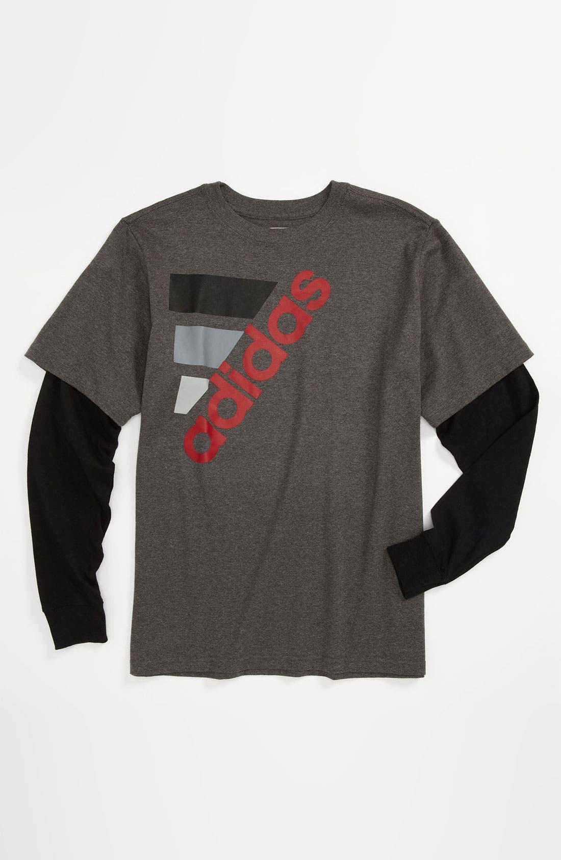 Alternate Image 1 Selected - adidas 'New Classic' Layered Sleeve Shirt (Big Boys)