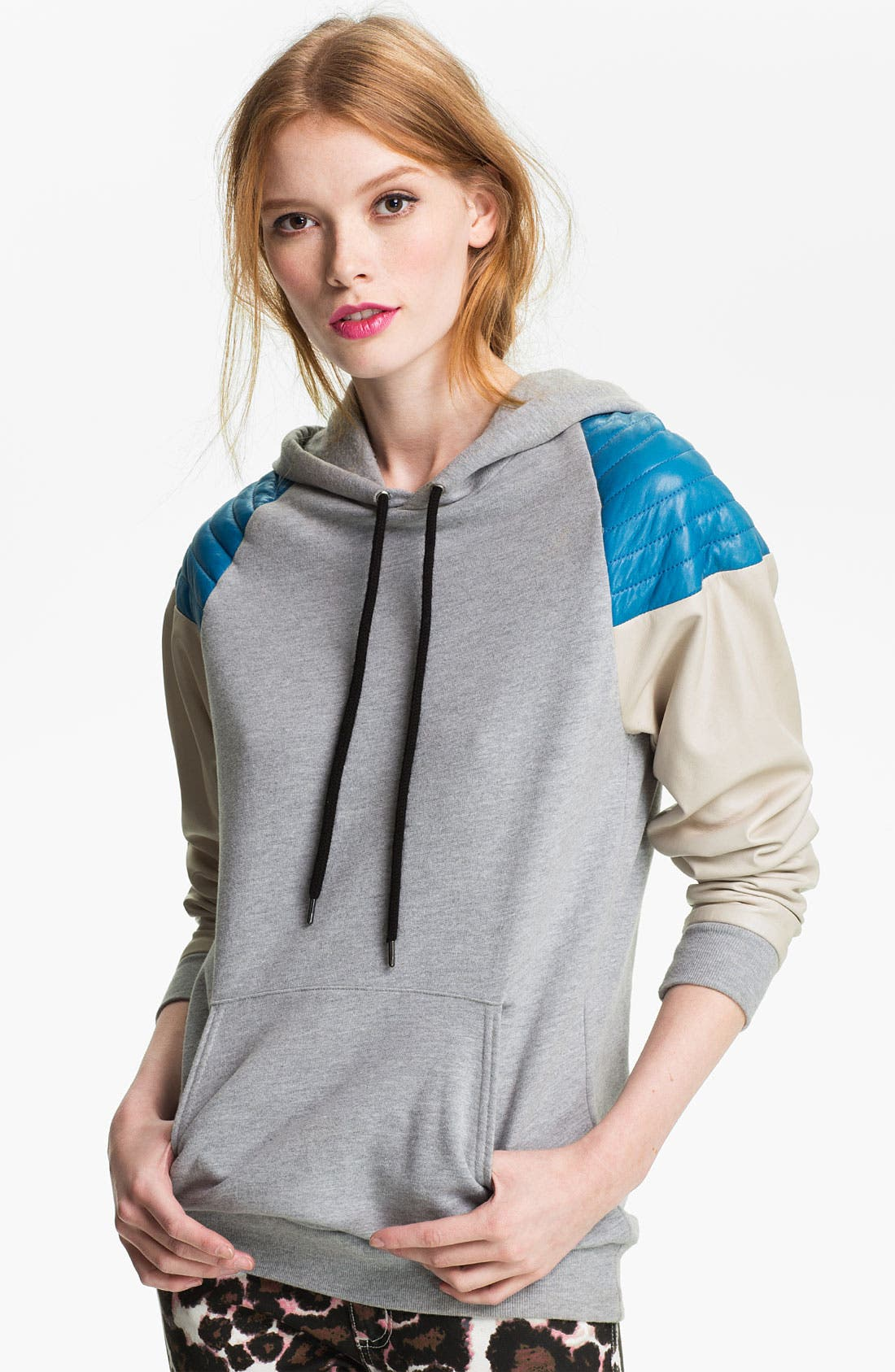 Alternate Image 1 Selected - Rebecca Minkoff Quilted Leather Shoulder Hoodie