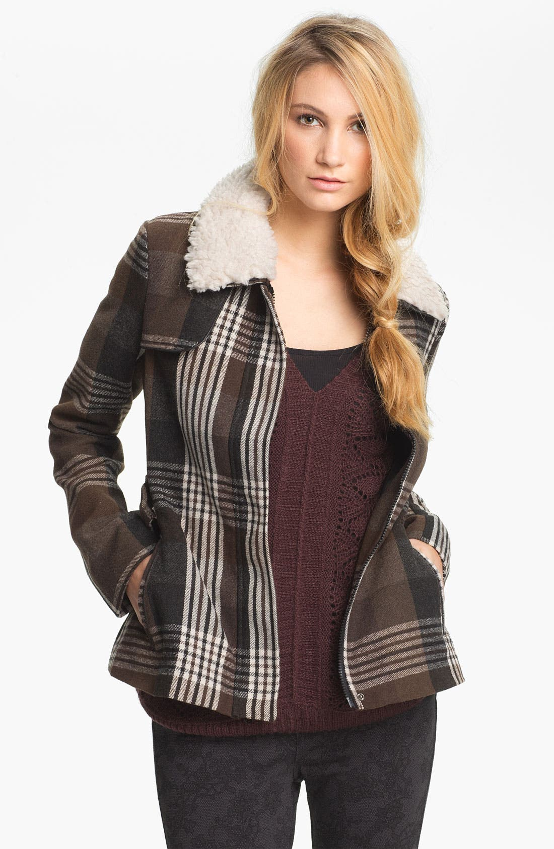 Main Image - Jack Faux Shearling Collar Plaid Coat (Juniors)