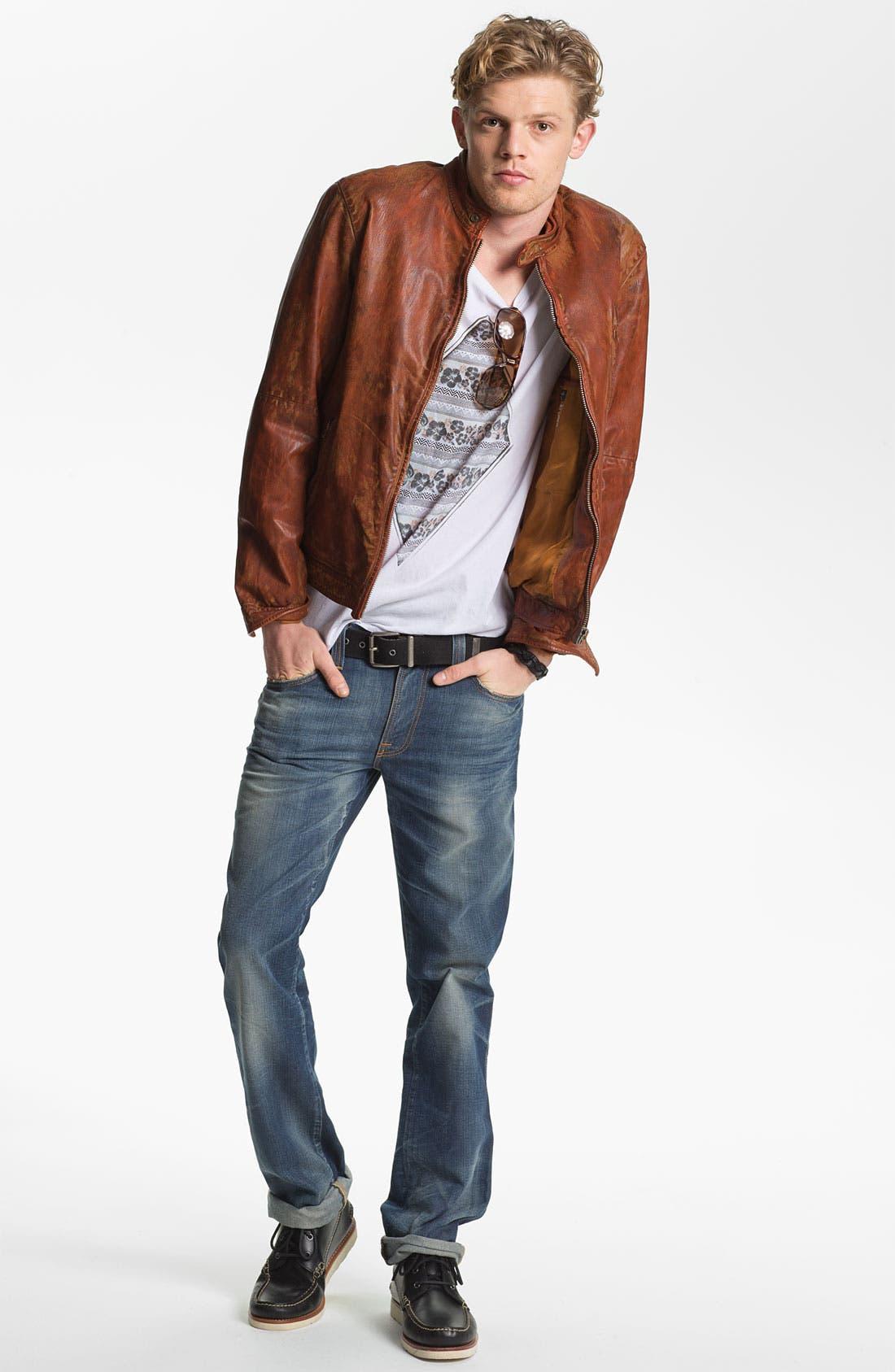 Alternate Image 1 Selected - Scotch & Soda Moto Jacket, Vanguard T-Shirt & Nudie Slim Straight Leg Jeans