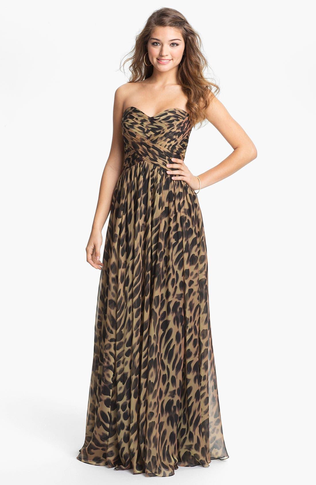 Alternate Image 1 Selected - La Femme Print Strapless Chiffon Gown