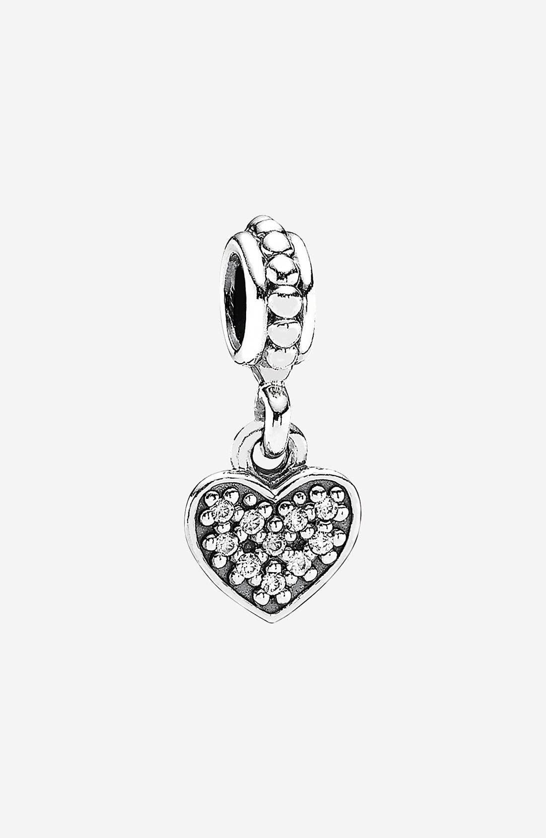 Main Image - PANDORA Pavé Heart Dangle Charm
