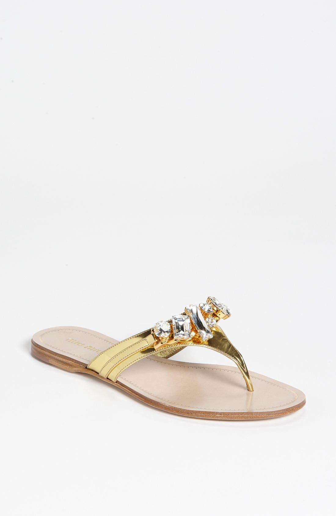 Main Image - Miu Miu Jeweled Thong Sandal