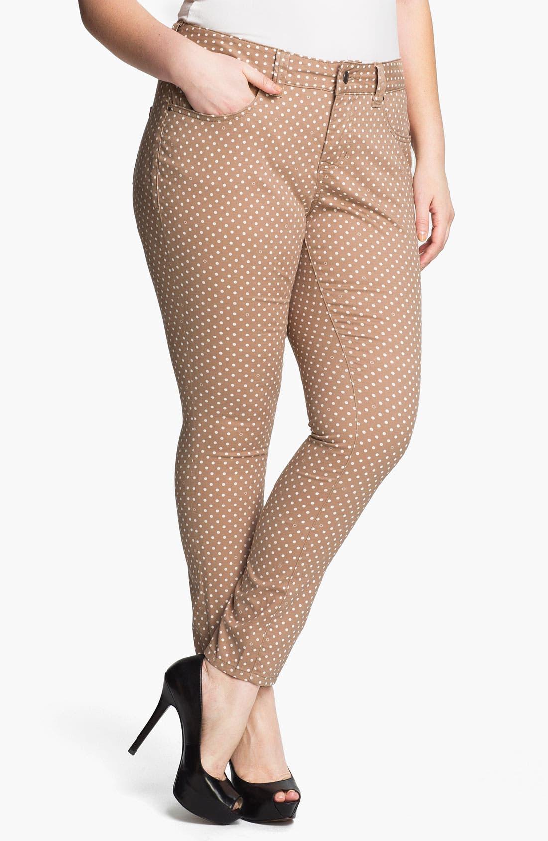 Alternate Image 1 Selected - Jag Jeans Polka Dot Slim Ankle Jeans (Plus Size)