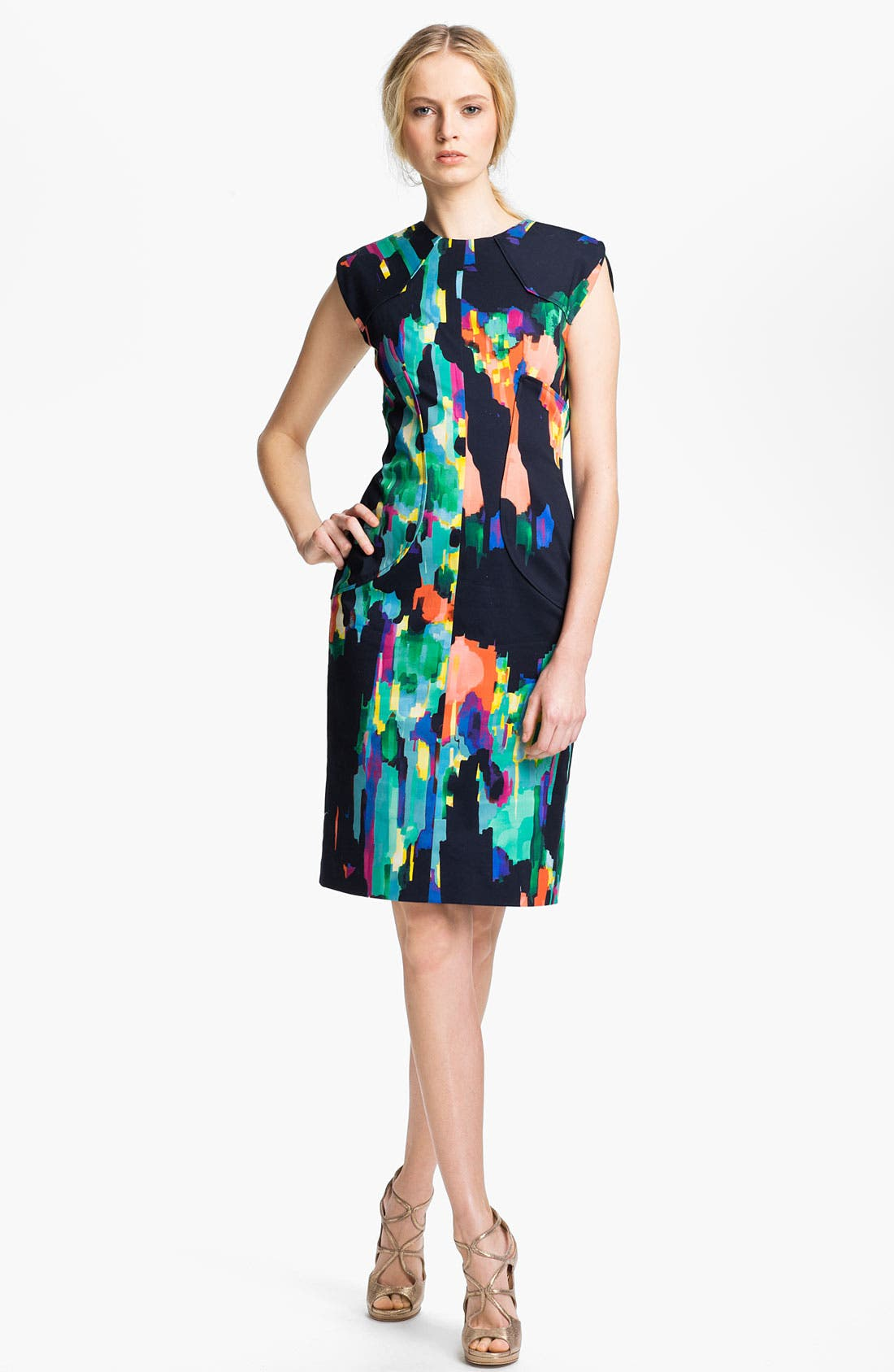 Alternate Image 1 Selected - Lela Rose Stretch Cotton Sheath Dress