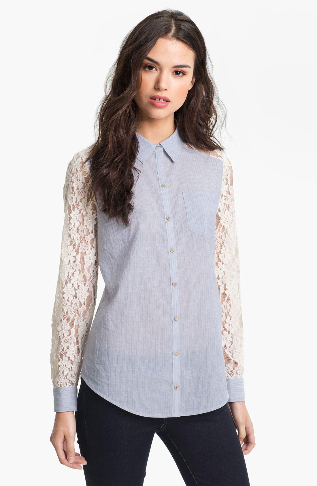 Main Image - Hinge® Mixed Media Lace Sleeve Shirt