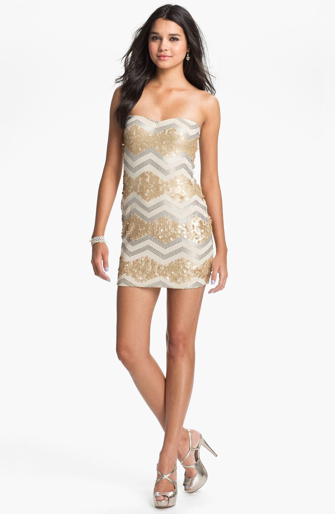 Main Image - As U Wish Zigzag Sequin Strapless Dress (Juniors)