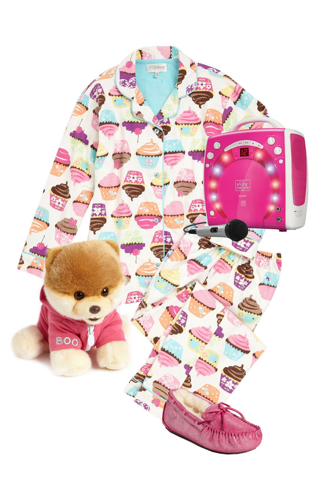 Main Image - PJ Salvage Pajamas, Gund Stuffed Animal & UGG® Australia Moccasin (Little Girls & Big Girls)