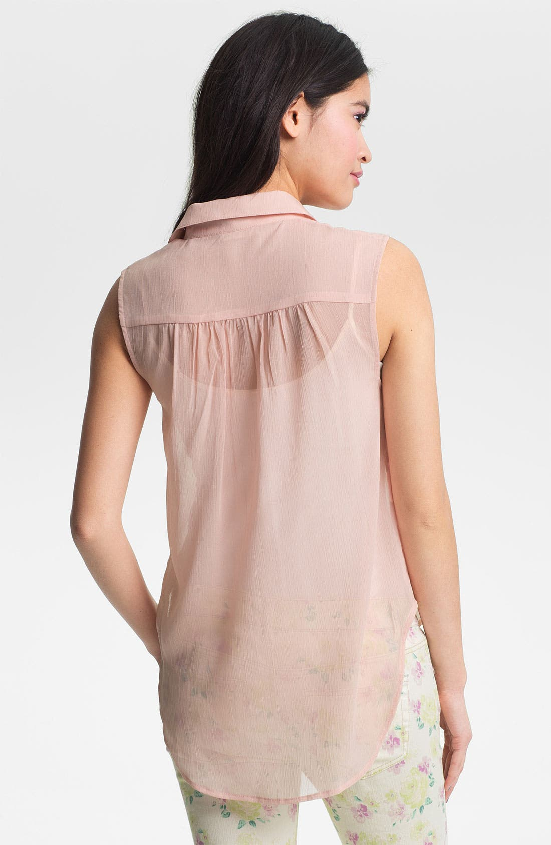 Alternate Image 2  - Lush Embroidered Sheer Sleeveless Shirt (Juniors)