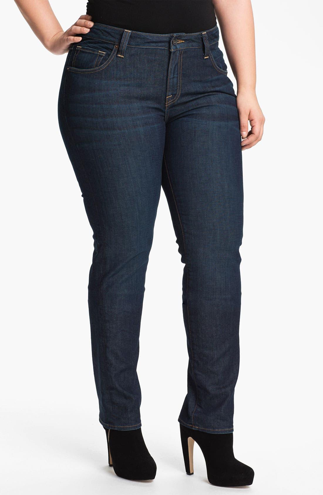 Alternate Image 1  - Lucky Brand 'Ginger' Straight Denim Jeans (Plus Size)