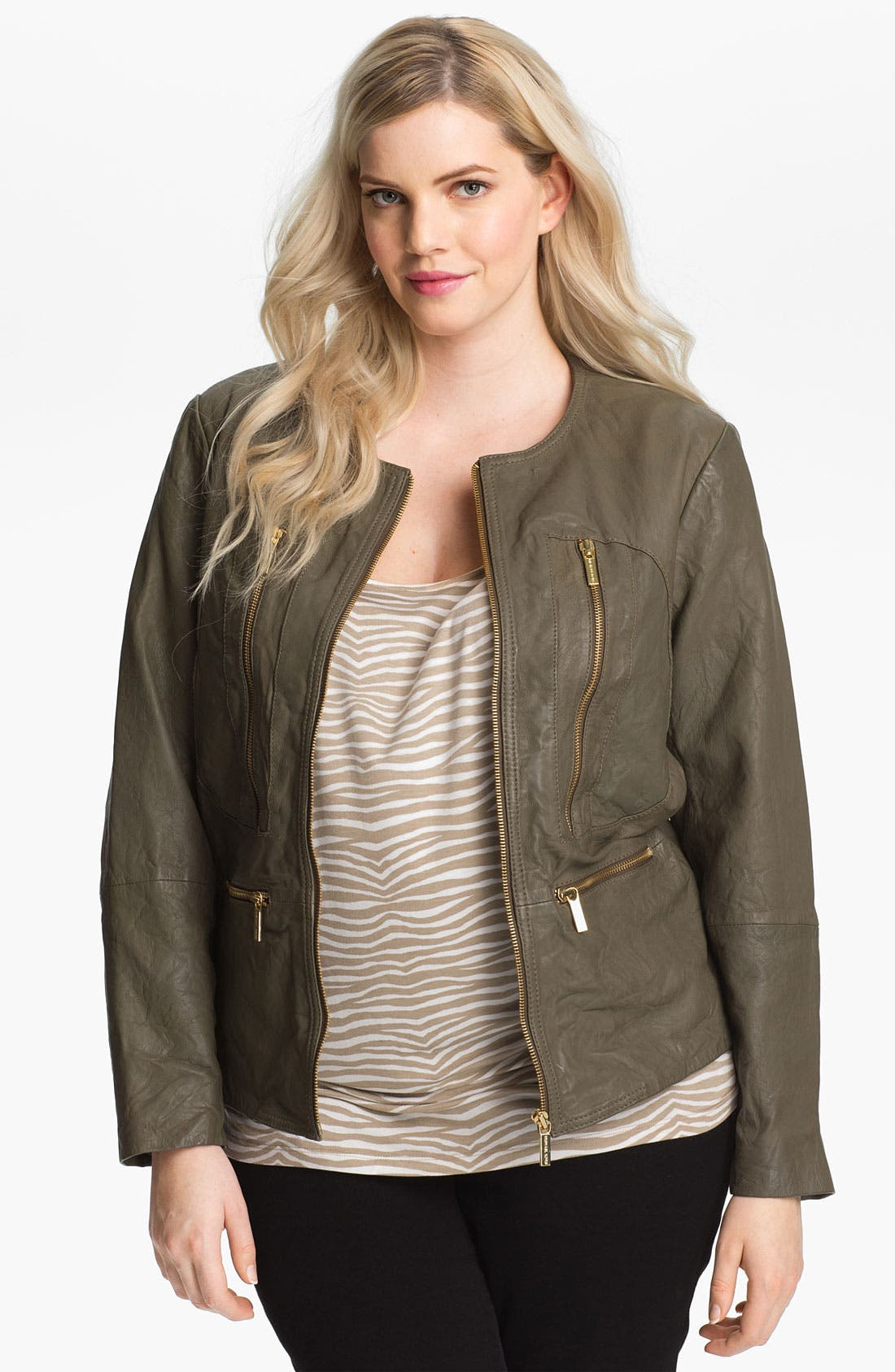 Main Image - MICHAEL Michael Kors Leather Jacket (Plus)