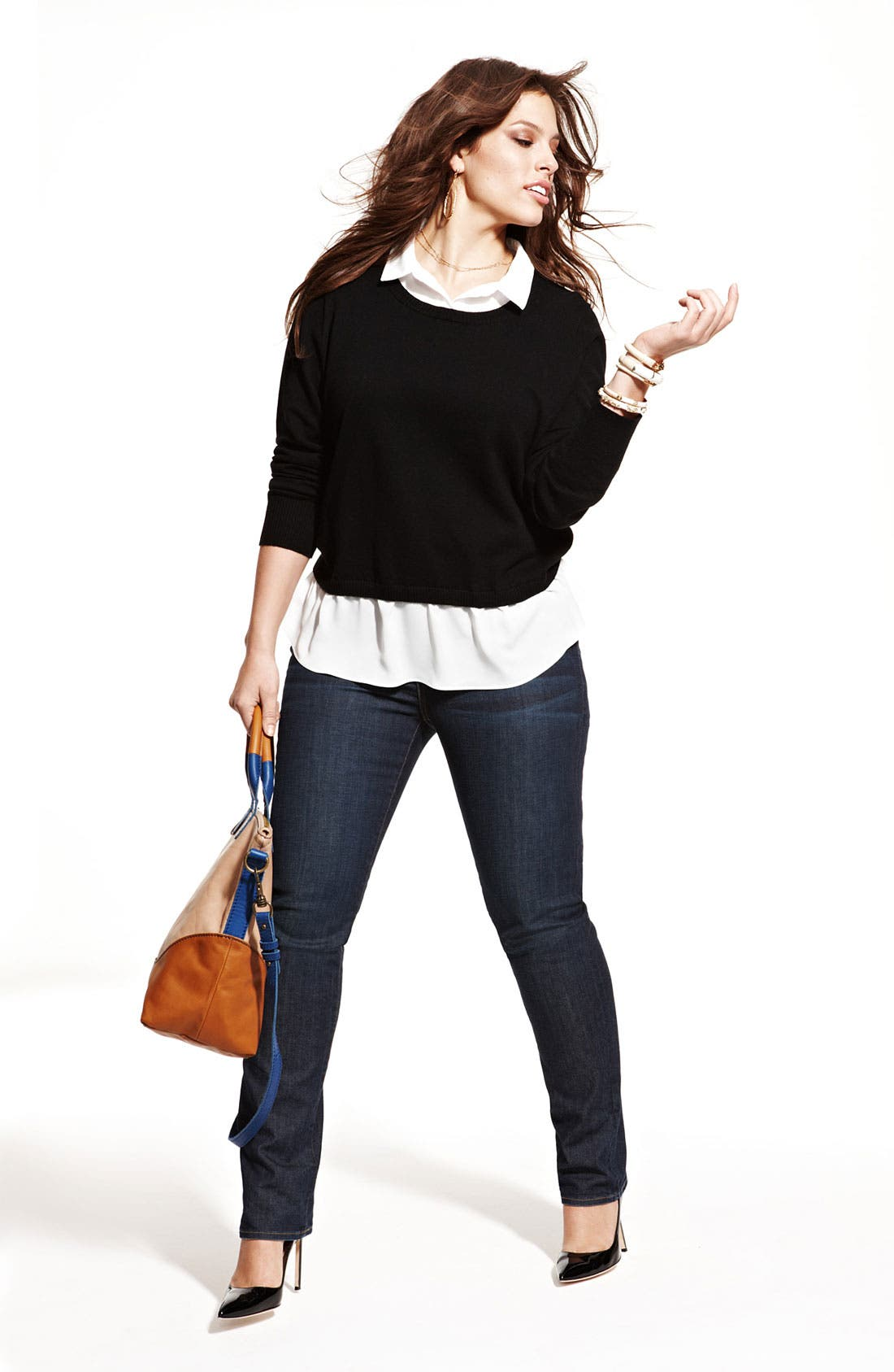 Alternate Image 6  - Lucky Brand 'Ginger' Straight Denim Jeans (Plus Size)