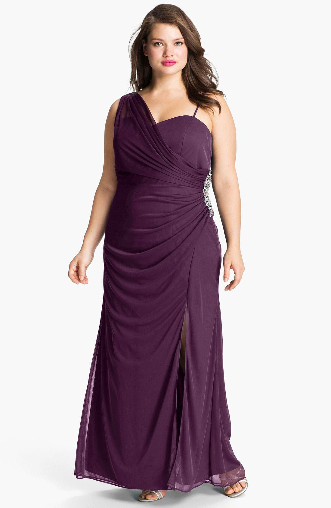 Alternate Image 1 Selected - Xscape Jeweled Draped Mesh Gown (Plus)