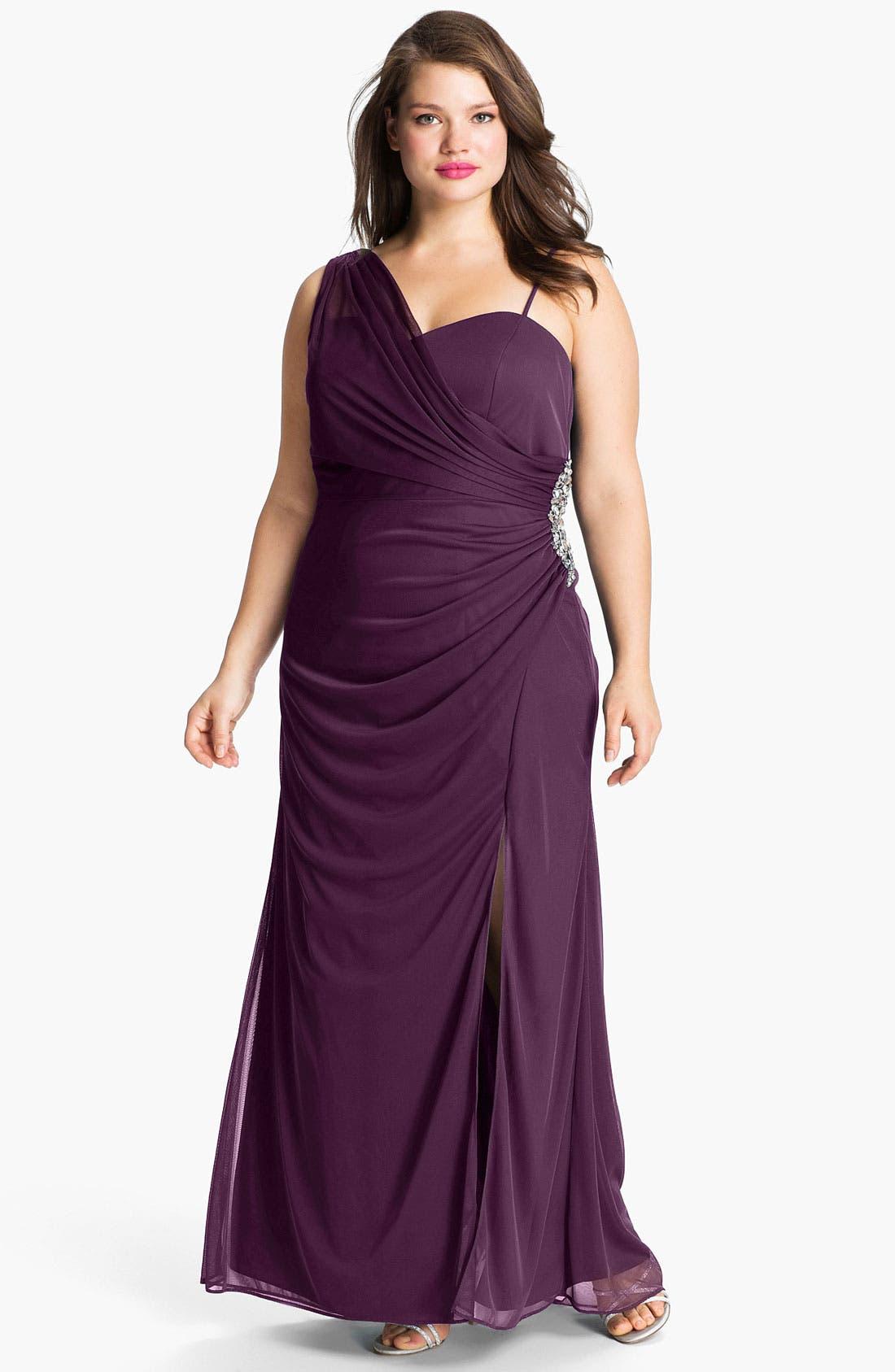 Main Image - Xscape Jeweled Draped Mesh Gown (Plus)