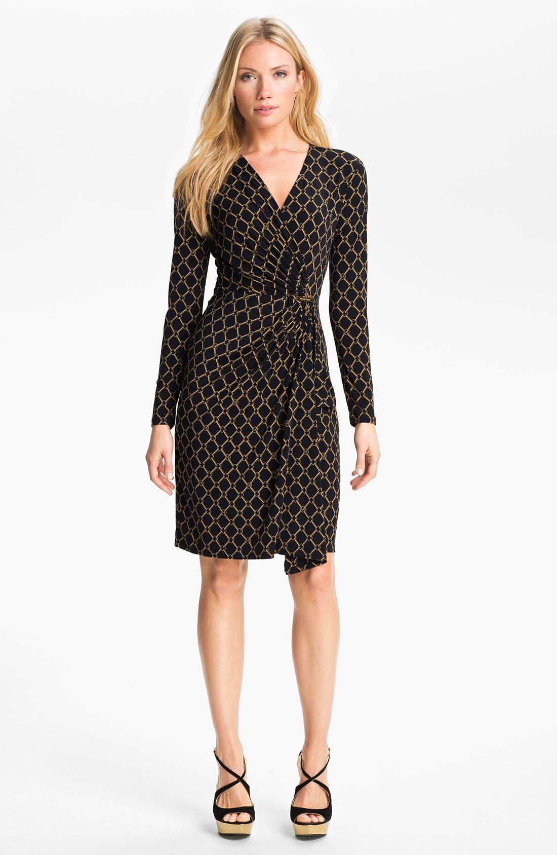 Main Image - MICHAEL Michael Kors Chain Print Faux Wrap Dress