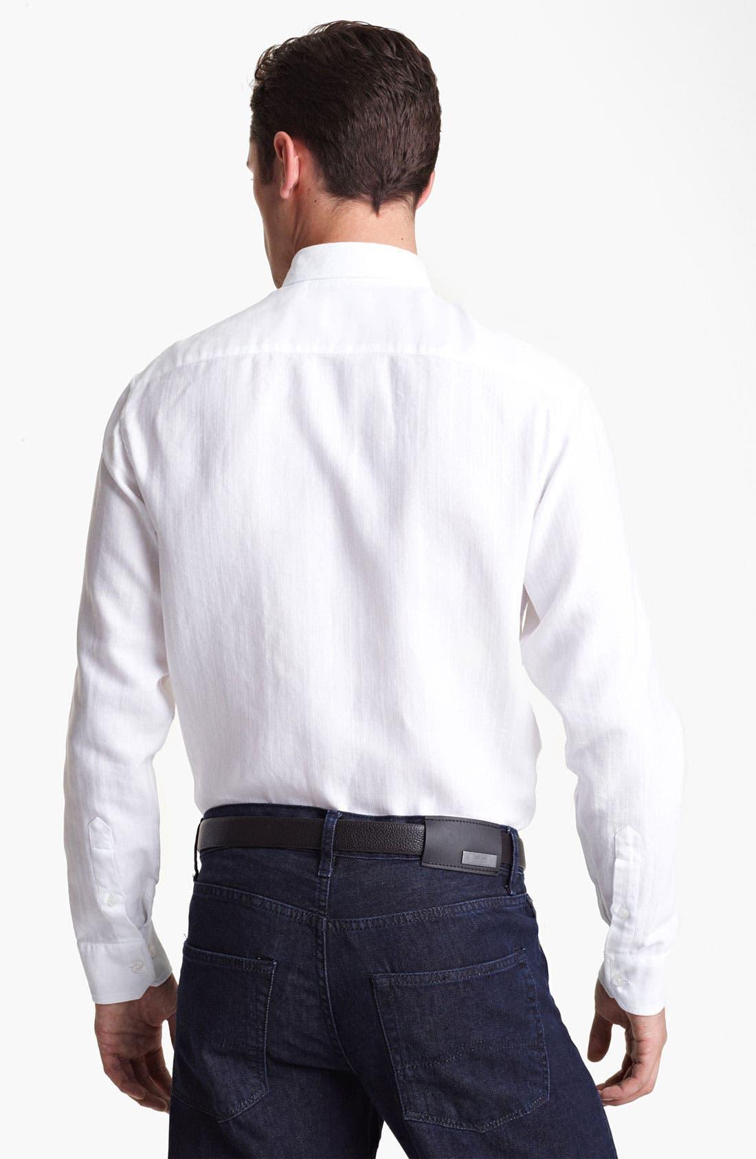 Alternate Image 2  - Armani Collezioni Piqué Woven Sport Shirt