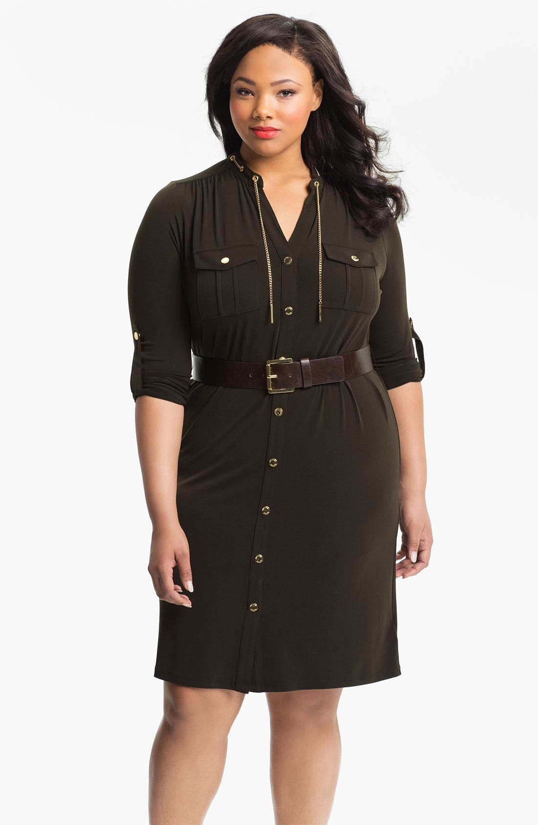 Alternate Image 1 Selected - MICHAEL Michael Kors 'MJ' Belted Shirtdress (Plus)