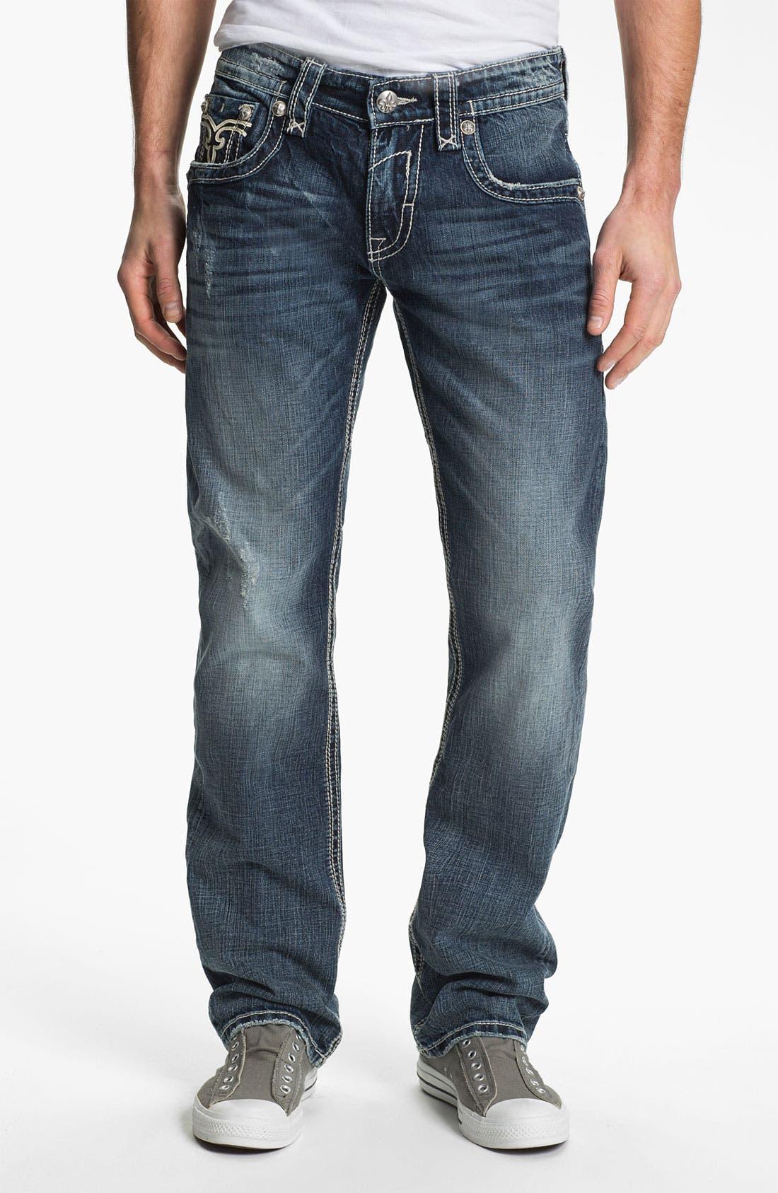Alternate Image 2  - Rock Revival 'Bobber' Straight Leg Jeans (Dark Blue)
