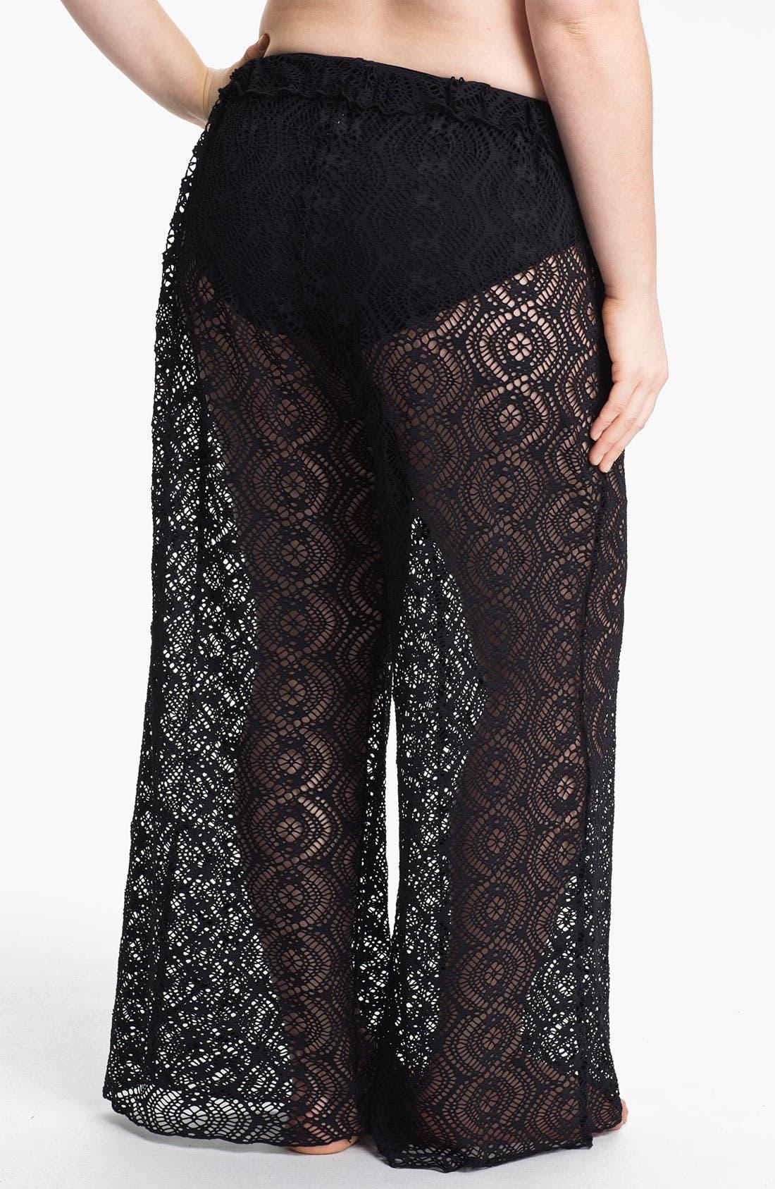 Alternate Image 2  - Becca Etc. 'Marbella' Crochet Cover-Up Pants (Plus Size)