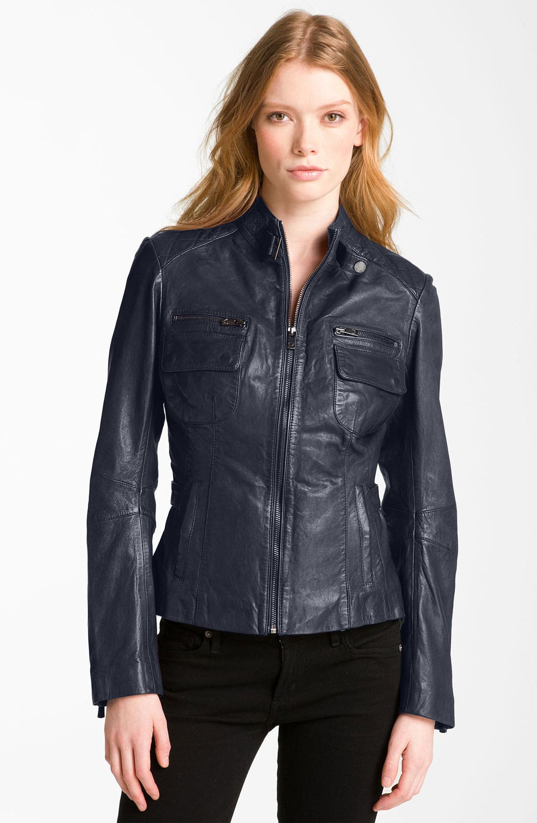 Main Image - Bod & Christensen Quilted Leather Moto Jacket