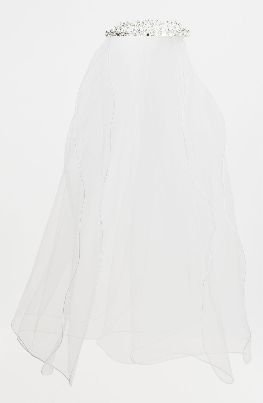 Main Image - Adriana Cupelli Rhinestone Tiara Veil (Girls)