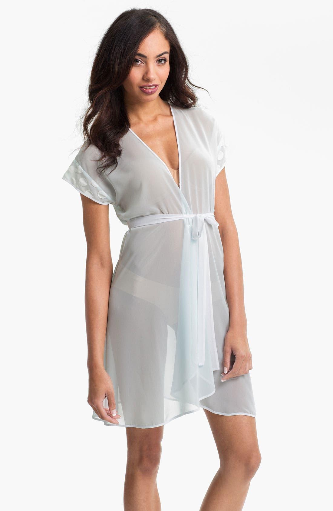 Main Image - Oscar de la Renta Sleepwear 'Sweet Dot' Short Sheer Robe