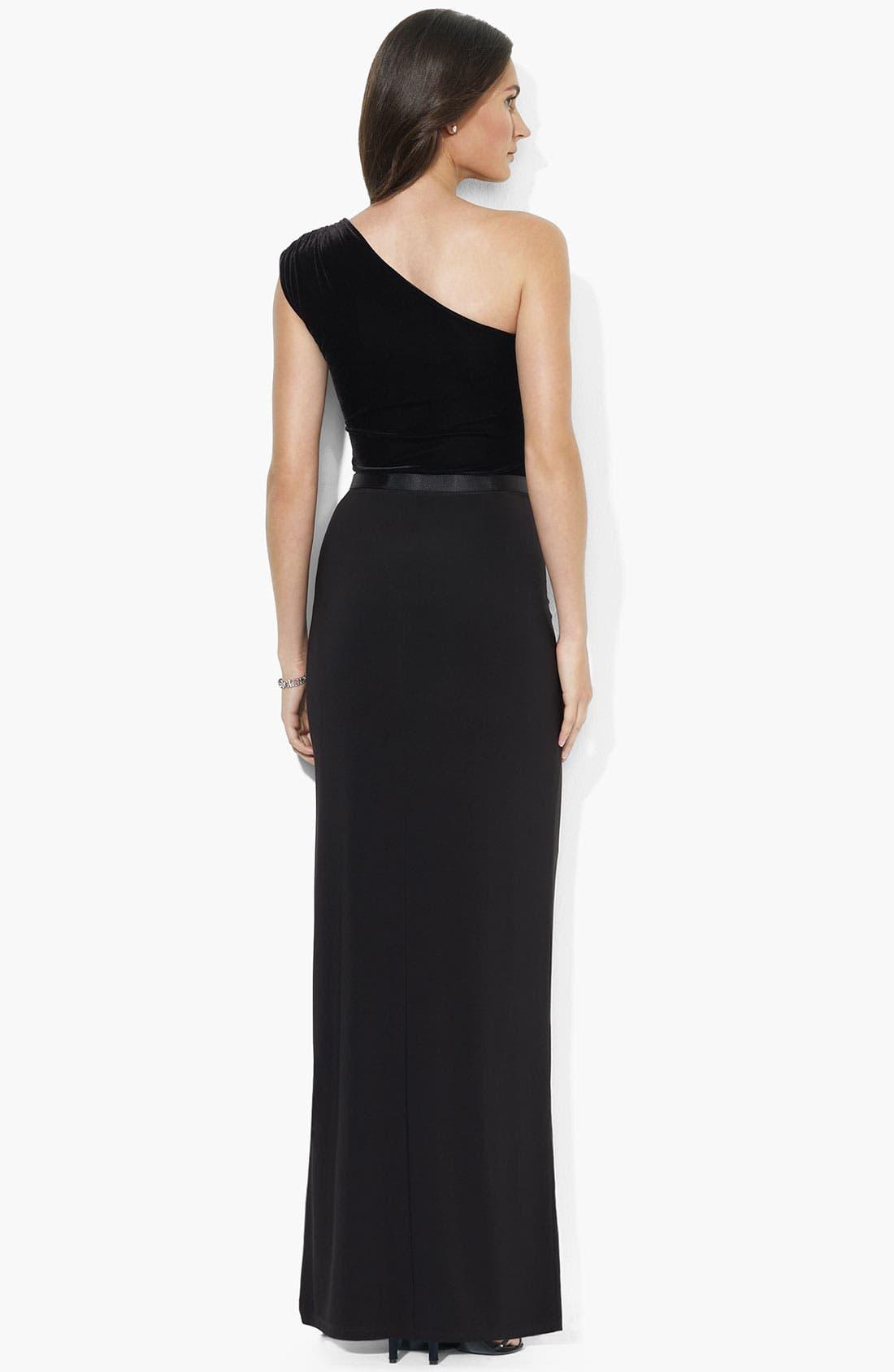 Alternate Image 2  - Lauren Ralph Lauren One Shoulder Velvet Gown (Petite)