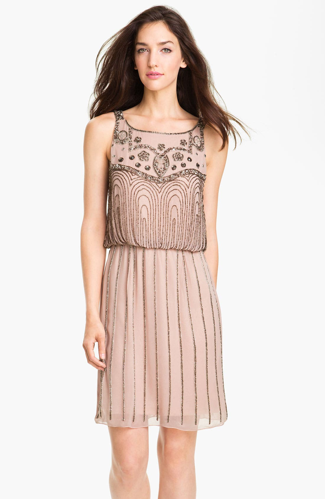 Alternate Image 1 Selected - JS Collections Beaded Chiffon Blouson Dress (Petite)