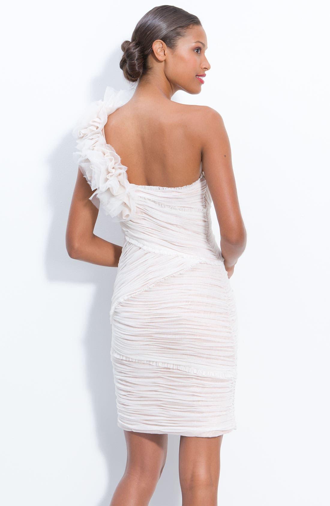 Alternate Image 2  - JS Collection One Shoulder Ruched Mesh Dress (Petite)