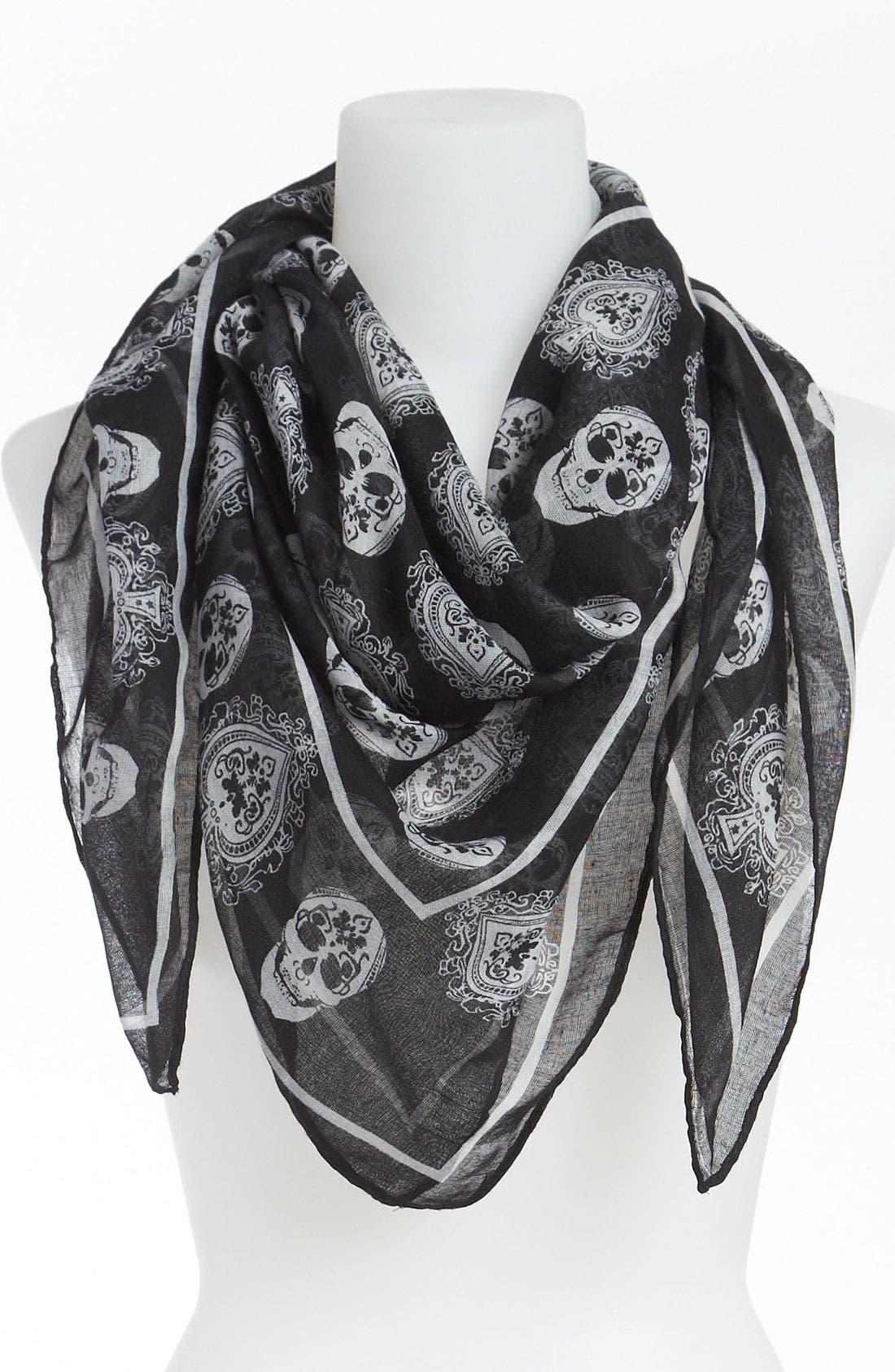 Main Image - David & Young Skull Print Sheer Scarf