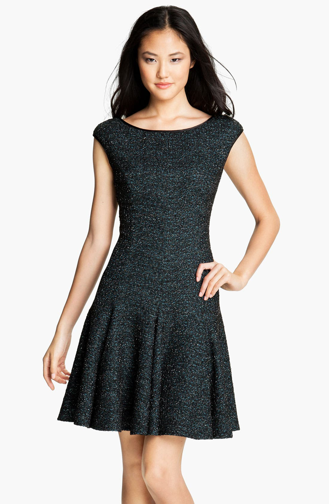 Main Image - Maggy London Scoop Back Metallic Fit & Flare Dress (Petite)