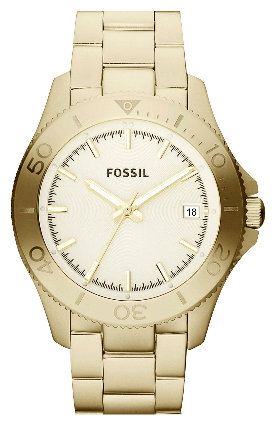 Main Image - Fossil 'Retro Traveler' Bracelet Watch, 36mm