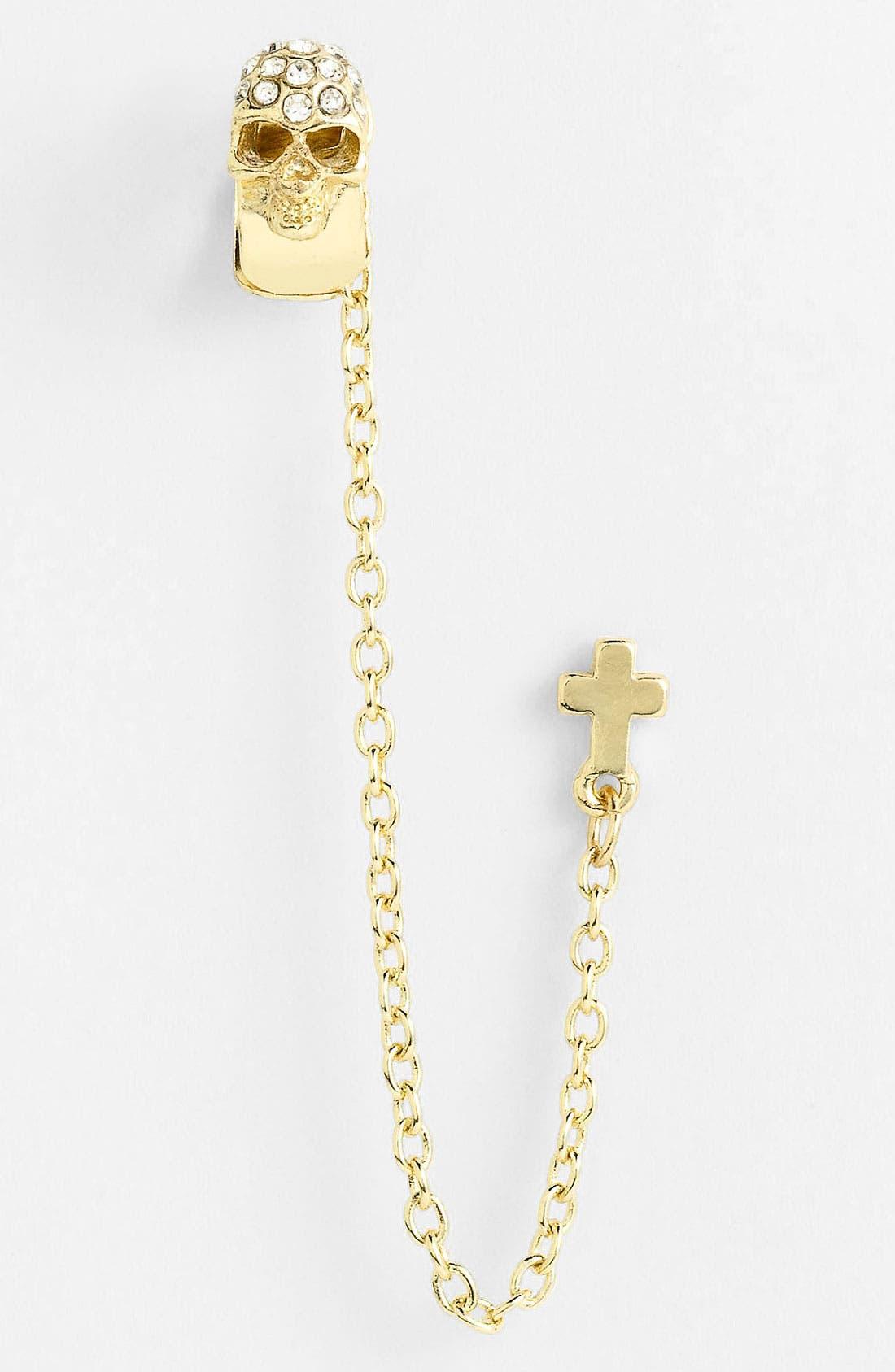 Alternate Image 1 Selected - Stephan & Co. Skull & Cross Cuff Earring