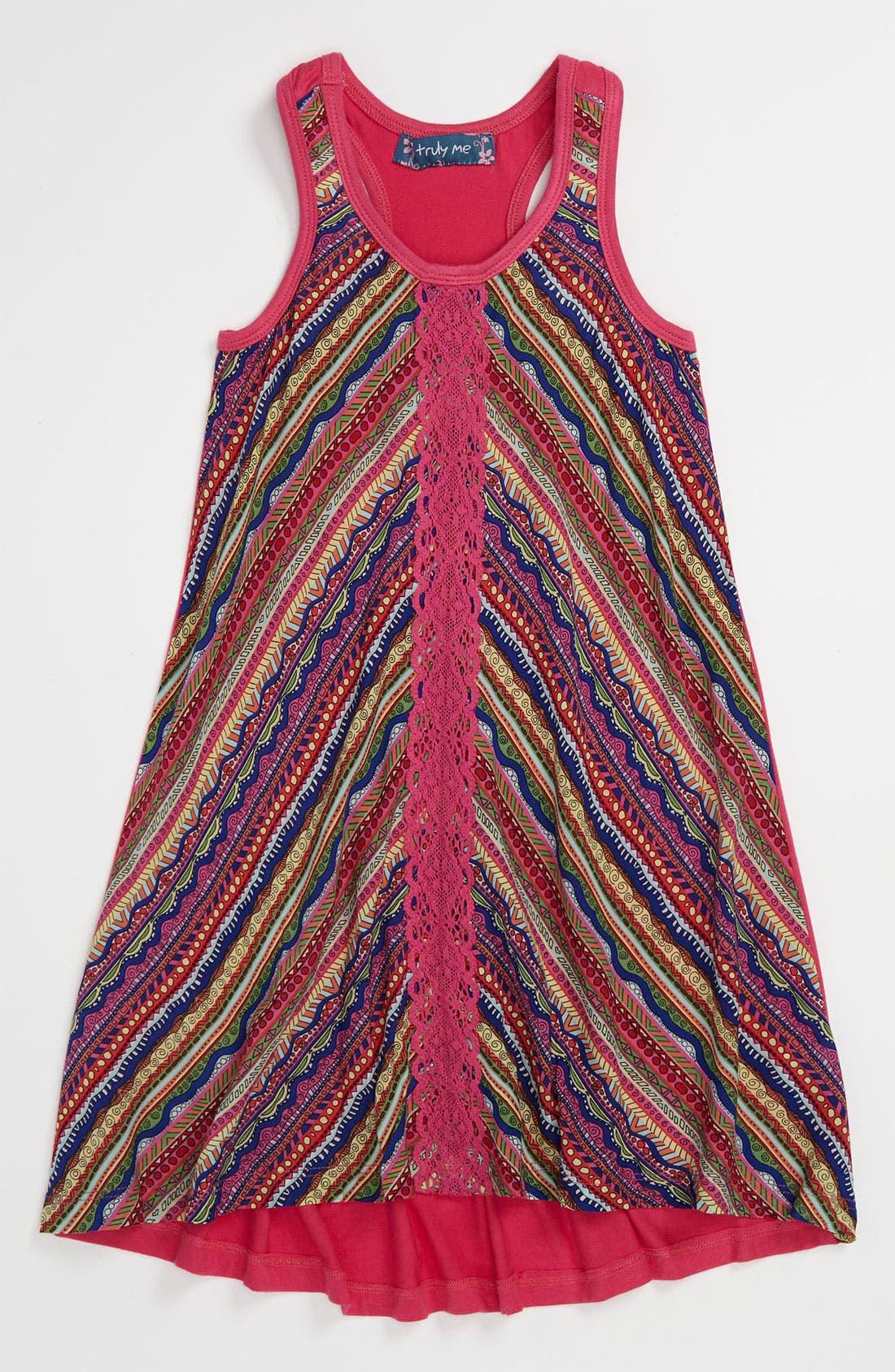 Alternate Image 1 Selected - Truly Me Stripe Dress (Little Girls)