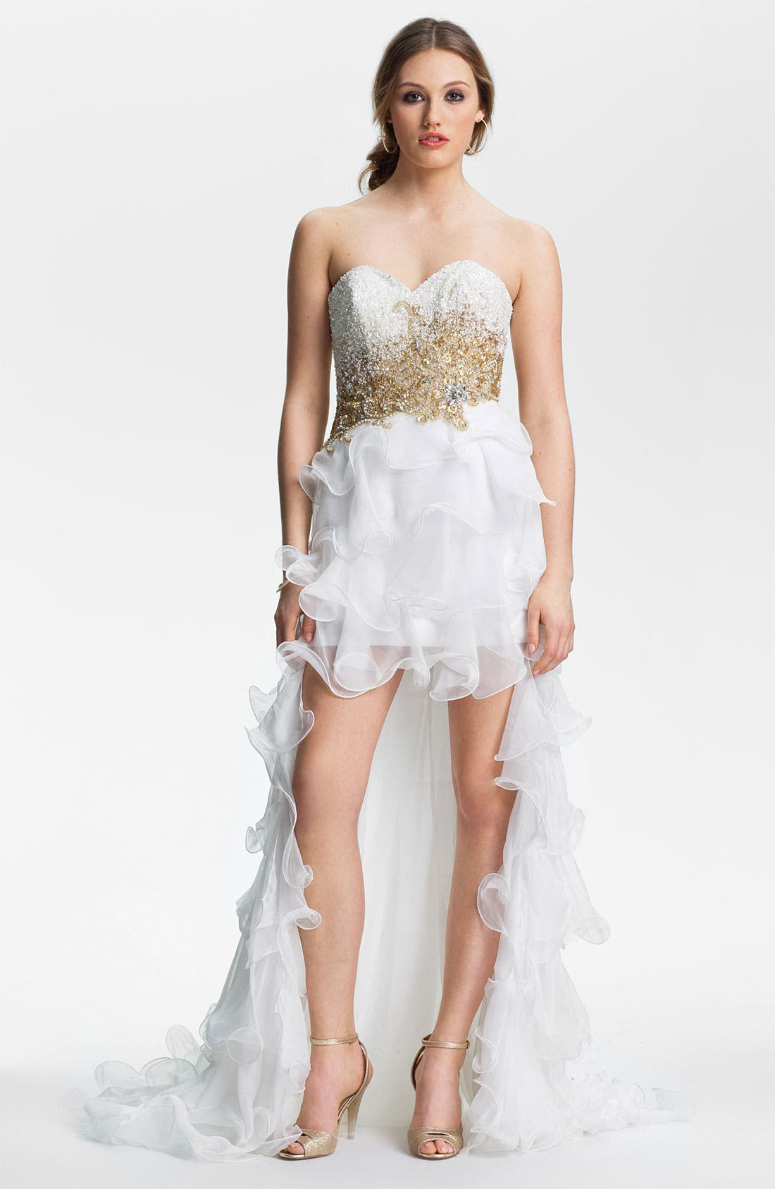 Alternate Image 1 Selected - Sherri Hill Ruffled High/Low Chiffon Gown