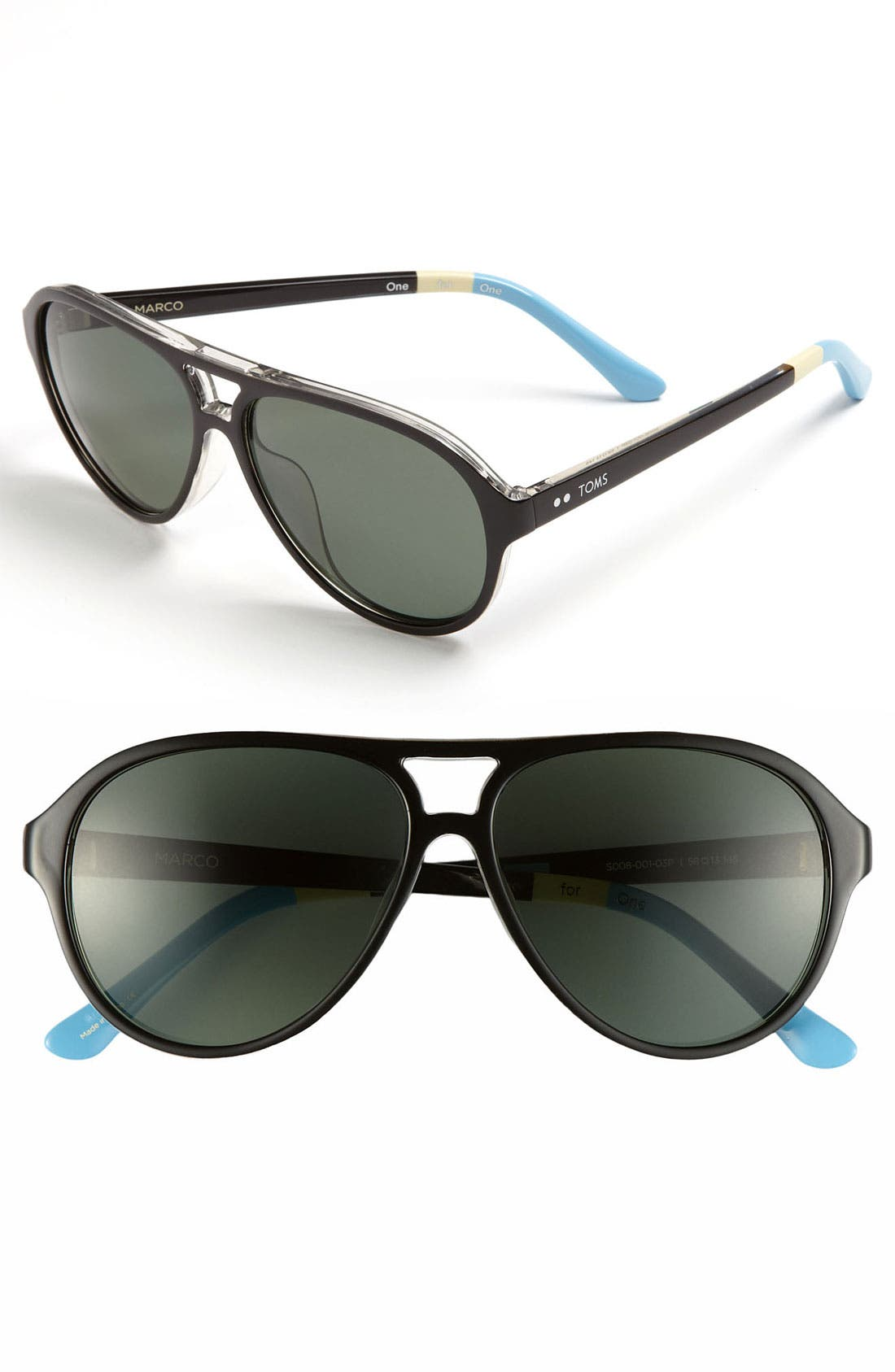 Main Image - TOMS 'Marco - Classic 104' 58mm Polarized Aviator Sunglasses
