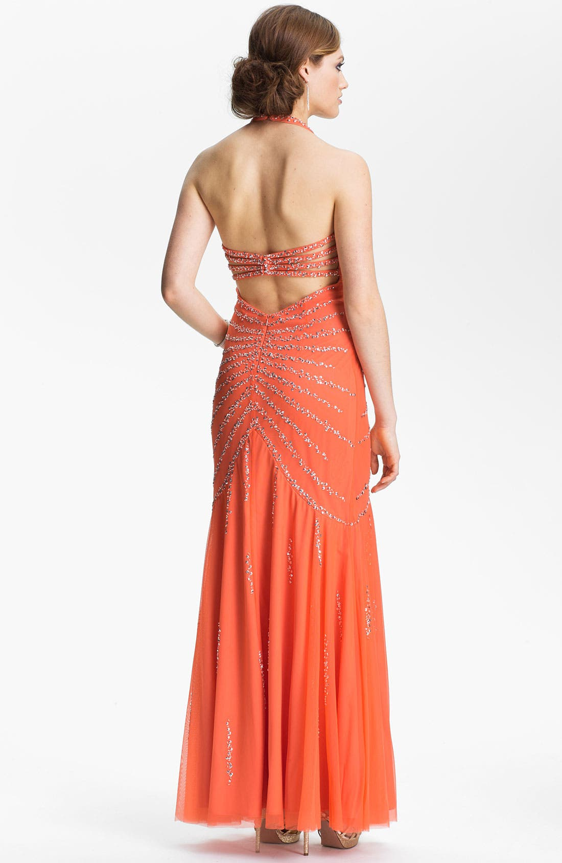 Alternate Image 2  - Sean Collection Beaded Mesh Halter Gown