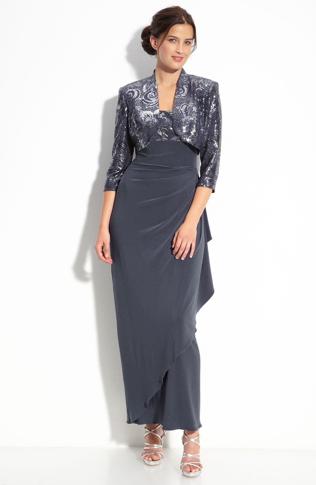 Alternate Image 1 Selected - Alex Evenings Sequin Jersey Gown & Bolero (Petite)