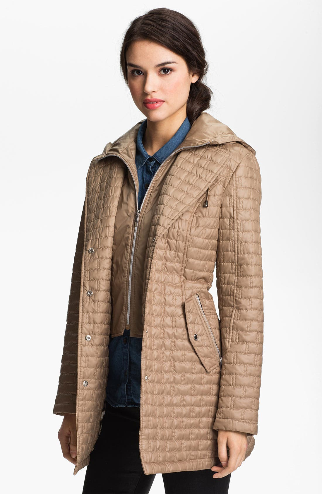 Main Image - Laundry by Shelli Segal Quilted Coat with Hood Insert