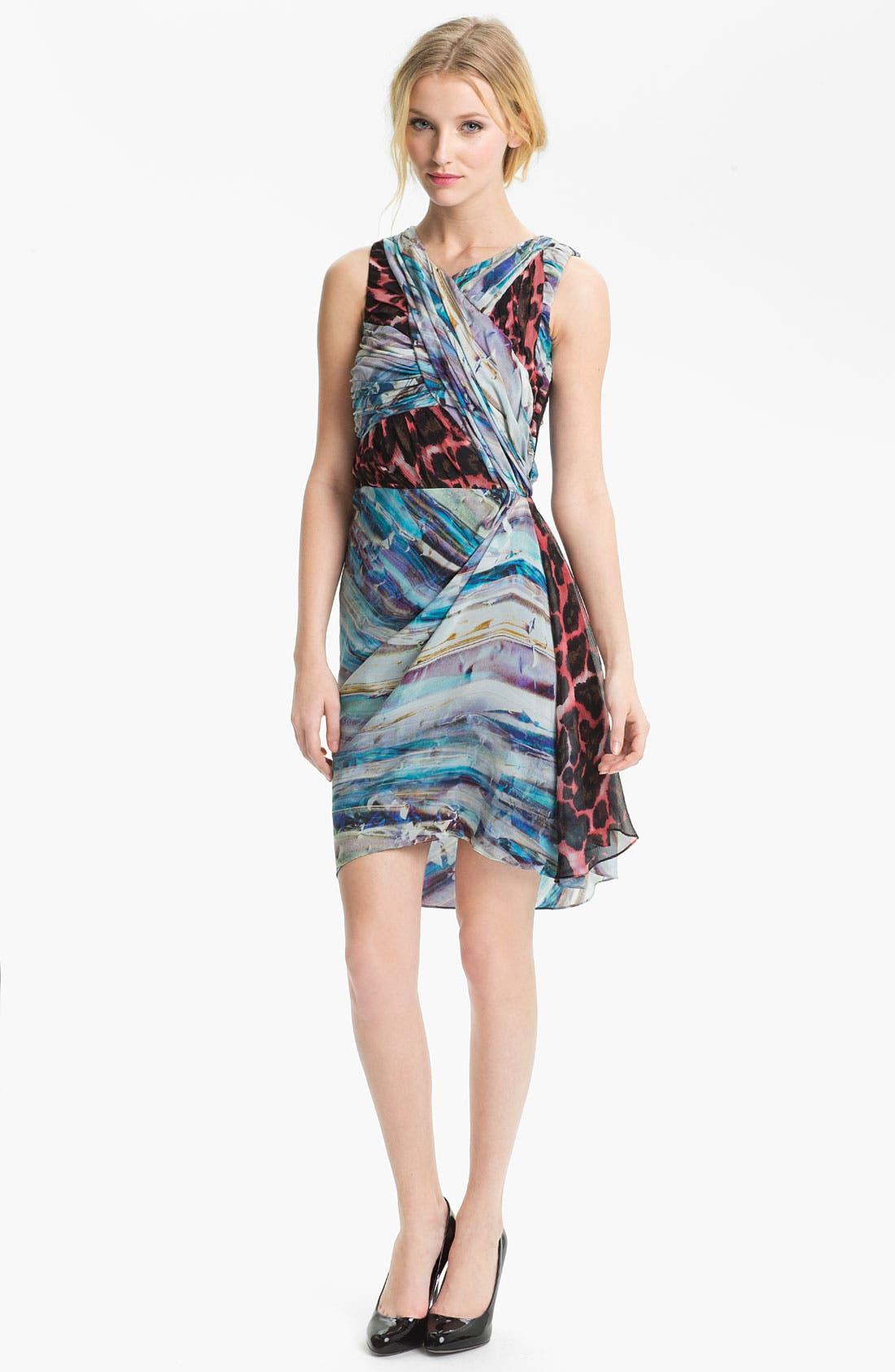Alternate Image 1 Selected - Rebecca Minkoff 'Gertz' Mix Print Silk Dress