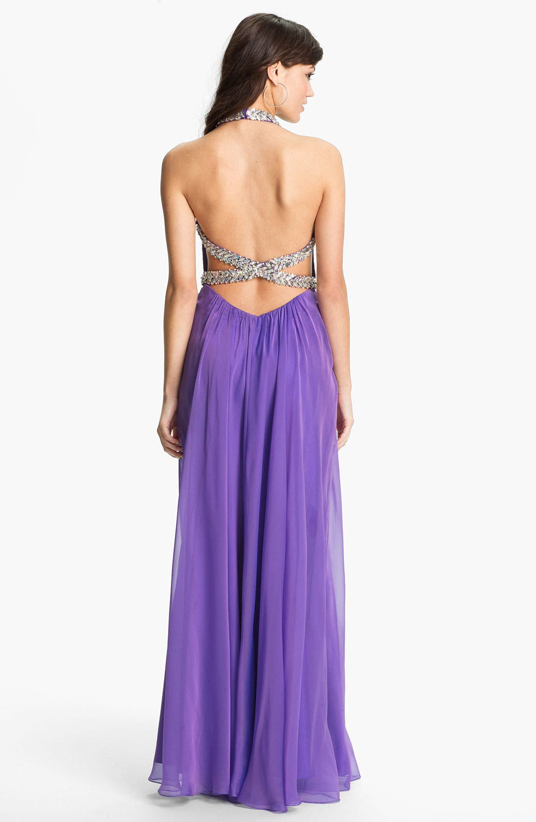 Alternate Image 2  - La Femme Embellished Silk Chiffon Halter Gown