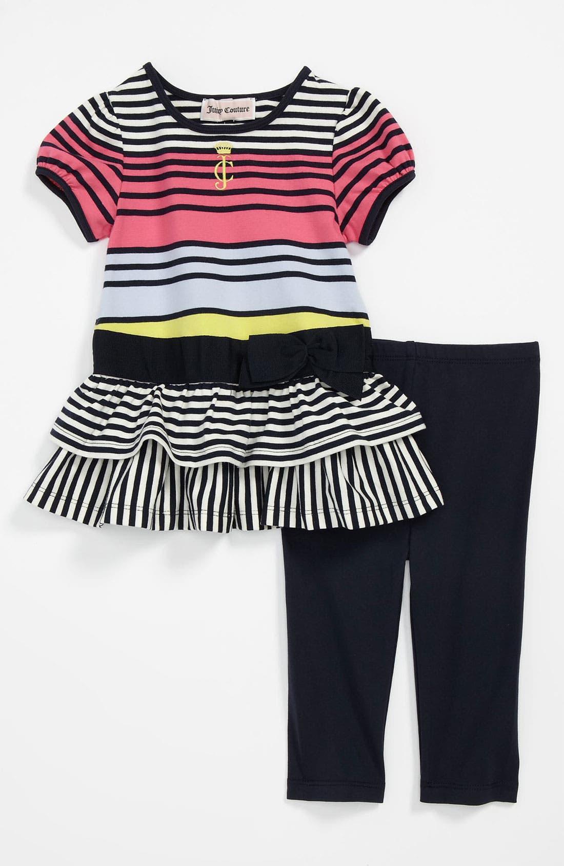 Main Image - Juicy Couture Stripe Tunic & Leggings (Infant)