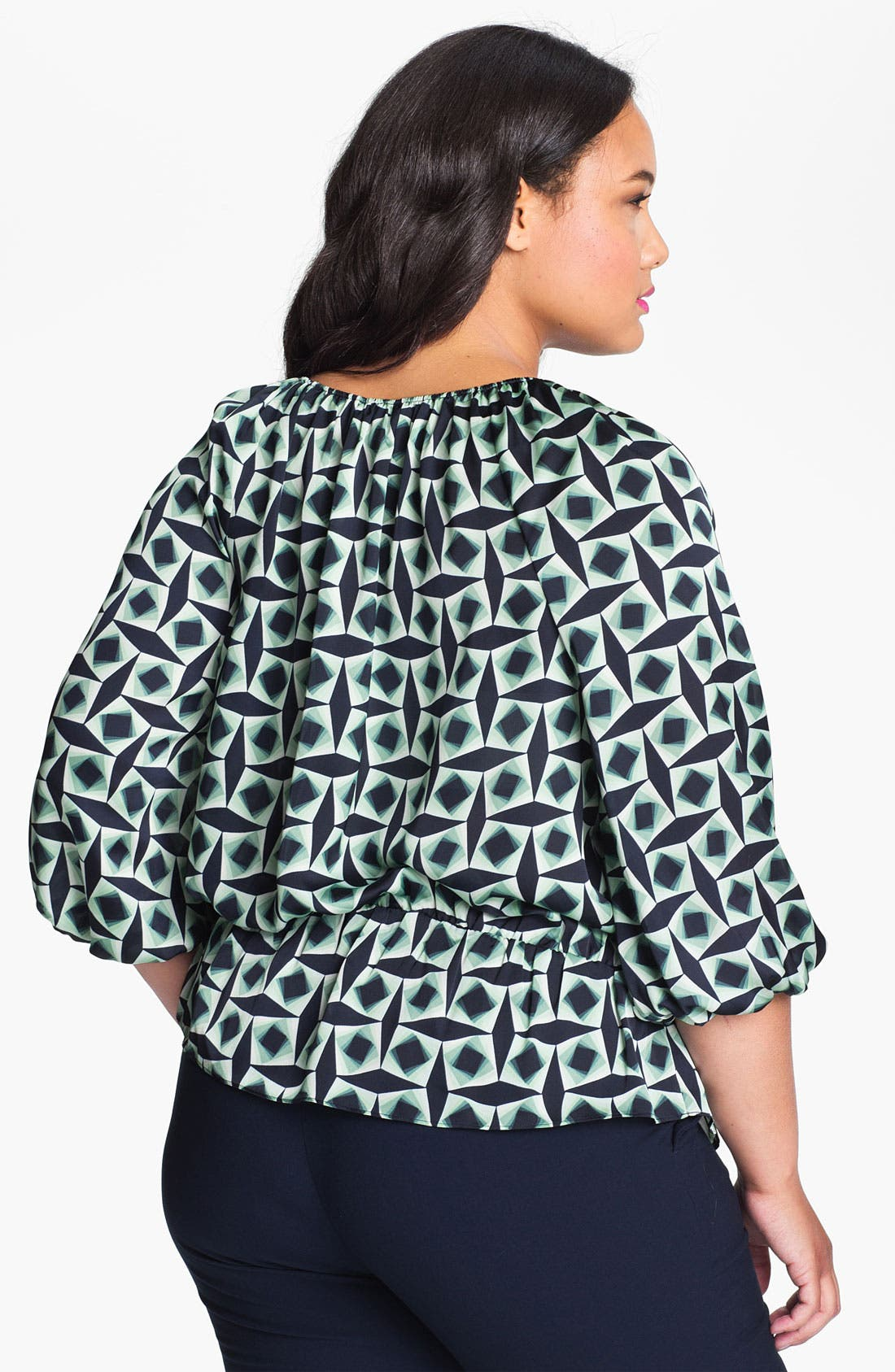 Alternate Image 2  - Vince Camuto Print Peplum Blouse (Plus)